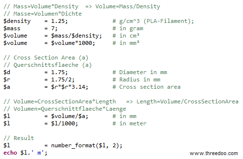 PHP filament length calculation